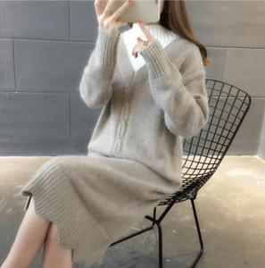 TiLeewon Pull en maille pour les femmes long pull gratuite Taille Pull Solide Couleur Casual Taille longue robe plus 3XL