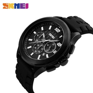 SKMEI Men Quartz Watches Fashion Casual Silicone Strap Wristwatches 30M Water Resistant Stopwatch Complete Calendar Watch 9136