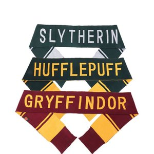 4 Styles College Scarf Gryffindor Slytherin Hufflepuff Ravenclaw Knitted Neckscarf With Badge Cosplay Scarves fashion klw h3222