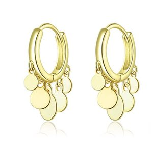 SCE634 Fashion 925 Silver Gold Tassel Round Big Circle Plated Hoop Earrings Jewelry Women Girls