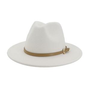 2020 Autunno Inverno Donna Uomo in feltro di lana Cappello Panama Jazz Fedora Bowler cappelli Belt Buckle Decor piatto Brim Cappello da cowboy Trilby