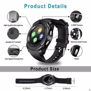 V8 Akıllı Erkekler İzle Bluetooth Spor Saatler Kadınlar Bayanlar Rel Gio Kamera Sım Kart Yuvası Ile Android Telefon Smartwatch Pk Dz09 Y1 A1