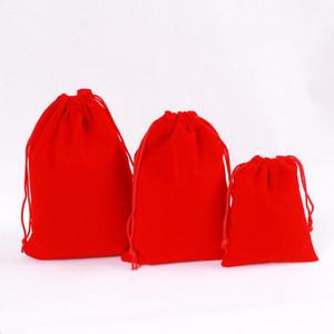 Venta al por mayor 100 bolsas de terciopelo rojo terciopelo cadena de la joyería de navidad / boda con cordón 13x18cm bolso de la joyería logotipo personalizado