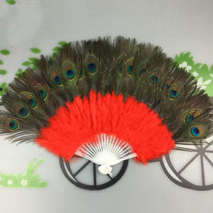 Peacock Feather Fan Dans Performansı Mulit Renk 21 Kemikler Sivri Kuyruk Katlanabilir Göbek havası El Fanlar Parti Dekorasyon 23jsE1