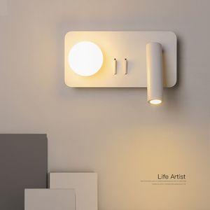 Современный поворотный кронштейн настенный светодиодный светильник внутреннего вращения с переключателем для чтения спальня прикроватные гибкие настенные светильники регулируемая Wandlamp RW173