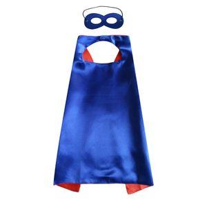 55 pollici pianura costumi di supereroi per adulti 6 colori raso doppio strato supereroe mantello con maschera costumi di Natale di Halloween