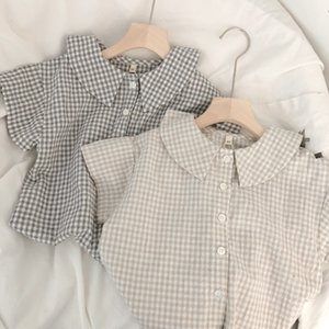 2020 Korea Style Girls Plaid Cotton Shirt Summer Short Sleeve Fashion Girls Blouse 1-6T