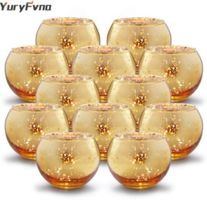 Yuryfna 6/12 Pcs Mercury Glass Candle Holders Votive Tealight Candlestick Wedding Centrerpieces Parties Home Decoration Gift T200319