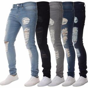 cor sólida usado calças jeans para calças Venda de designer 2018 Moda Mens Skinny Jeans apertadas