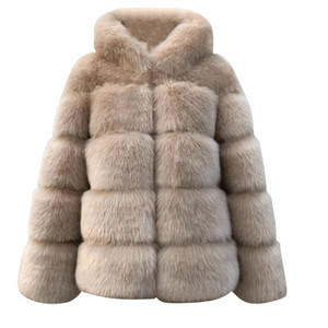 بالاضافة الى حجم الصلبة إمرأة Faux فرو المنك الشتاء مقنع جديد فو الفراء سترة دافئة سميكة ملابس خارجية سترة الشتاء النساء معطف دافئ