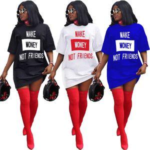 Le donne Summer Dress T-shirt Minigonne progettista solido di lusso di colore D6504 Lettere manica corta Stampato allentato Abiti sexy Notte Club Dress