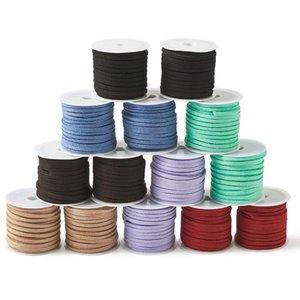 Karışık Renkli Sahte Süet Kordon 3mm Lace Making 14rolls pandahall / set DIY El Yapımı Bileklik Takı