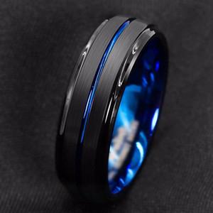 Mode 8Mm en carbure de tungstène anneau en acier mince Blue Line-Inside brossé noir Men'S Band Wedding Promise Bijoux cadeau
