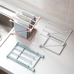 Sink Washing Towel Rack Kitchen Folding Rag Drainer Holder Cup Shelf Fast Drying Hanging Storage Rack Kitchen Bath Towel Organizer