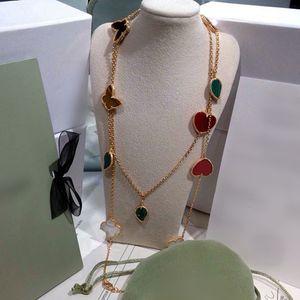 핫 판매 네 잎 클로버 꽃 JewelryRed 하트 나비 꽃 꽃 여성의 스웨터 체인 목걸이 네 잎,
