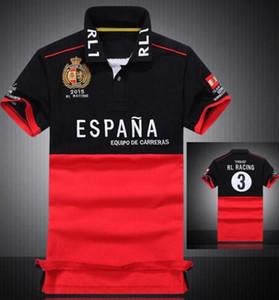 T-Shirt Polo dos homens do polo Camisas Casual Cavalo grande Bordados País Bandeira Espanha Itália United Stated Argentina França Brasil GBR RL Corrida