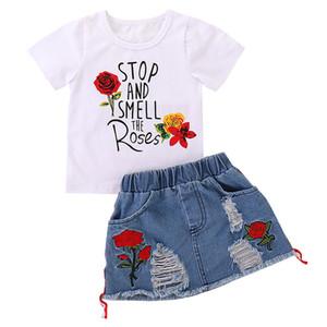 Yırtık Jean İki Adet Etek Seti Günlük Bebek Kız Yaz Giyim 19052302 Rose Baskılı Kız Bebek Giyim Pamuk Kısa Kollu T Shirt