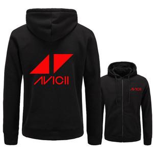 Yeni AVICII Erkekler / Kadınlar Hoodies Sweatshirt Müzik DJ Avicii Hip Hop Hoodie Siyah Ceket Erkek Giyim Moda Fermuar Kapüşonlu Hombre