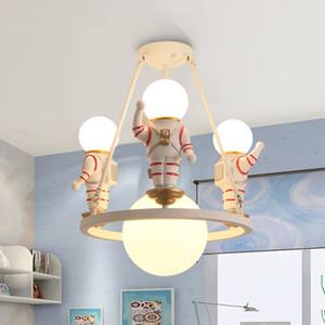 Lámpara Creativa de Dibujos Animados Astronauta Chandelier Boys Dormitorio para Niños Habitación American American LED Universe Color Araña de iluminación led luz