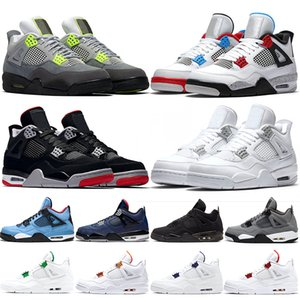 4s jumpman Homens tênis de basquete 4 O que o Neon angorá moeda metálica Emb Preto Chaussures Mens treinadores desportivos Sneaker Size 40-47
