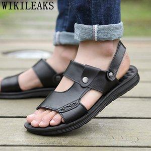 leather sandals men outdoor sandals man 2019 summer slip on shoes men running beach shoes sandalia masculina buty meskie