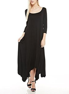 현대 키위 Edie 3/4 Sleeve Asymmetric Point Hem Maxi 정장, 앞면 포켓 (S-3XL)