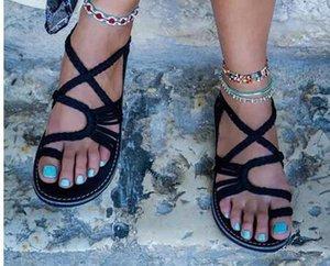 Hot Sale-2018 Summer Women Hot Ring-Toe Cross Ankle Braid Strap Beach Sandals Boho Flat Shoes Flippers 35 - 44