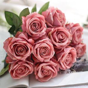 5pcs / Lot flores artificiales de Rose nupcial de la explotación agrícola del tacto verdadero falso Rose ramo de flores para la decoración del jardín Inicio Florals XD22913