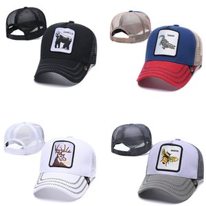 New Fashion High Quality Animal Embroidery Hat Net Hat Sun-Proof Breathable Sunshade Cap