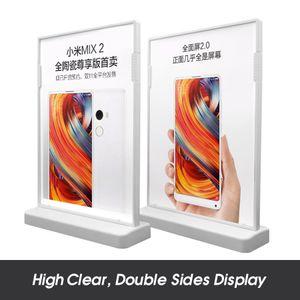 A5 présentation recto-verso avec base plate verticale cadre photo acrylique Diaplay stand in Desk ou table titulaire de signe acrylique