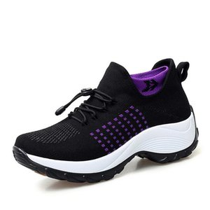 Cheap Running 2019 Spring Autumn Women Flat Platform Running Shoes For Women Breathable Mesh Black Sports Shoes Ladies Socks Sneakers