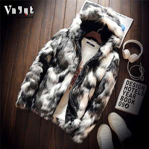 men's personality and wool imitation mink imitation leather jacket Youth camouflage fur coat
