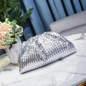 Excellent quality wholesale fashion luxury designer genuine silver leather pleated it cloud bag pouch handbag shoulder bag evening wallet