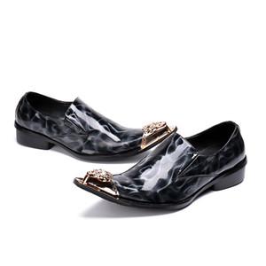 British Style Mens metallo della punta aguzza dei pattini di vestito da ballo Paty Male Plus Size elegante genuina del cuoio del modello di pietra commerciali Oxfoes