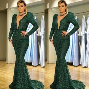 New Zuhair Murad Dunkelgrüne Meerjungfrau Prom Kleider 2019 Sexy V-ausschnitt Perlen Dot Abendkleid Mit Langen Ärmeln Formal Plus Size Party Kleider