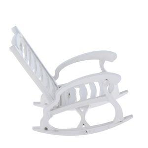 دمية كرسي خشبي، 01:12 مصغرة خشبي هزاز كرسي نموذج - تأثيث لعبة دمى البيت - الأبيض