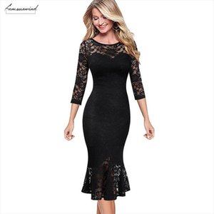 Autumn Womens Elegant Vintage Floral Lace Pinup Business Casual Cocktail Party Fitted Bodycon Mermaid Pencil Sheaht Dress 1219