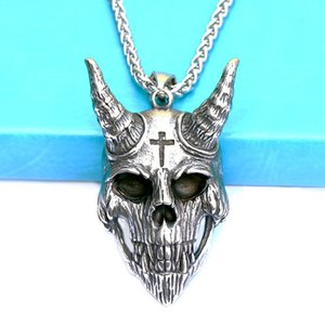 Personality Stainless Steel Ram Head Skull Necklace Pendant Motorcycle Party Punk Cross Silver Chain Hip Hop Rock Men's Jewelry