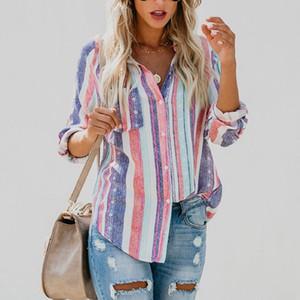 muke дамы осень новый европейский американский цвет полосы большие женщины блузка симпатичные женские женские топ рубашка
