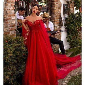 2020 Red A Line prom Dresses Off Shoulder Lace Appliques Draped Tulle Red Carpet Dress with Cape Celebrity Gowns ogstuff robes de soirée