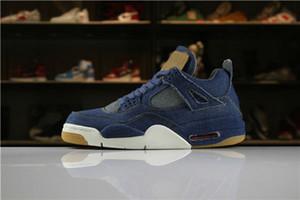 Avec chaussures Box Denim 4 chaussures de basketball LS jeans bleu noir 4s lvs baskets hommes femmes chaussures de sport formateurs