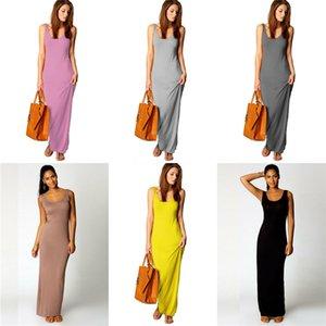 Renkler Elbiseler Moda Kontrast Renk Elbise Günlük Slash Boyun Kolsuz Elbise Kadın Giyim Kadın Tasarımcısı Multi # 900