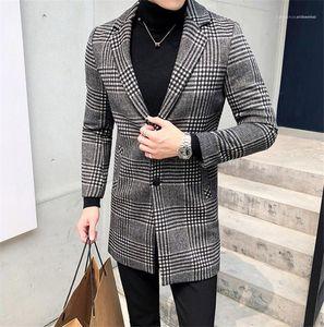 Plus Size Affari Cardigan misto lana cappotti Manteaux pour hommes Mens Designer cappotti di inverno del plaid