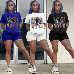 Siyah Hayatlar Matter Harf Baskılı Şort Takımı Kadın Eşofman Kısa Kollu T gömlek + Biker Şort 2 parça kıyafet Tasarımı Eşofman D61208