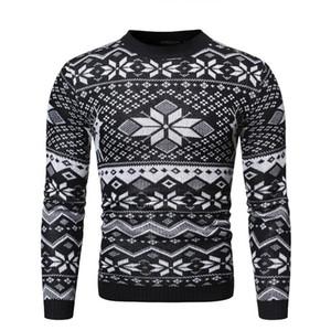 Giorno di Natale Mens Maglioni Designer sottile casuale Mens Maglioni Moda Pullover Christmas Snow Stampa Maschi Abbigliamento