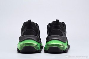 Triple S Clear Sole Sneaker Black Yellow Fluo Air Cushion Shoes Man woman Luxury shoes Runner Knit Shoe Original Trainer Runner Best Quality