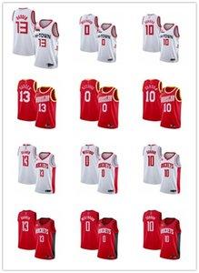 MensWomensYouthHoustonRockets13 JamesHarden 0 RussellWestbrook 15 Clint Capela white red custom BasketballJersey