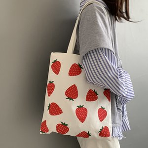 Women Canvas Shoulder Bags Fruit Strawberry Printing Shopping Bags Eco Reusable Handbag Tote Students Schoolbags