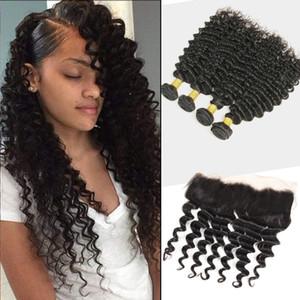 Extensions de cheveux vierges malaisiens 8-30inch Bundles d'onde Deep avec la dentelle de 13x4 Frontal de 4 pièces / Lot De Profond Wave Curly Hair Hair Dacetal Frontal