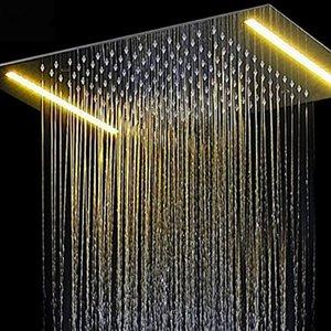 Fernbedienung Farbwechsel LED Big Showerhead Strom Dusche 36x50 CM 304 Edelstahl Chrom Decke Regen Duschkopf